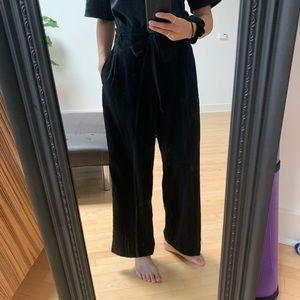 Zara black wide leg paper bag pants